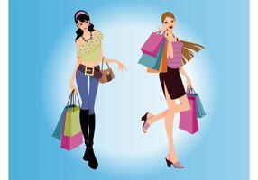 Einkaufen Frauen Vektor