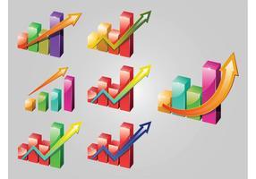 Iconos de gráficos brillantes
