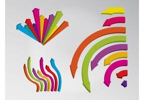 Flèches incurvées colorées