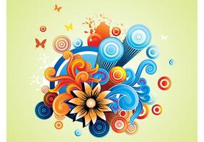 Graphiques de fleurs colorées
