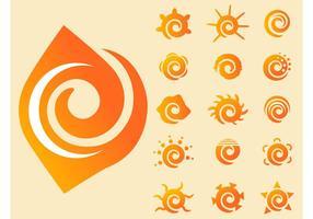 Vectores del sol que remolinan