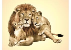 Vector de la familia del león