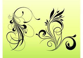 Siluetas de flores remolinos
