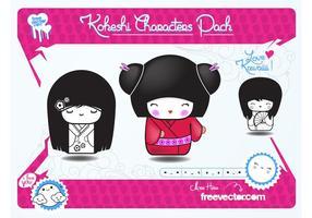 Pack de poupées japonaises