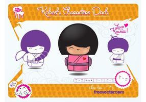 Vetores de bonecas de Kokeshi