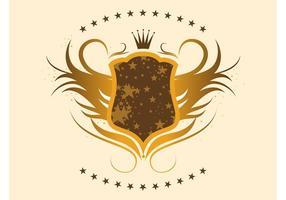 Bouclier d'or avec des étoiles