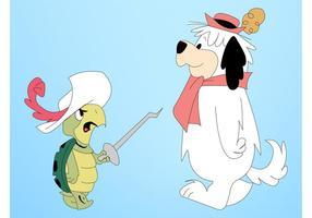 Animales de dibujos animados lucha