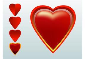 Vectores de corazones rojos