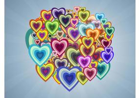 Corações multicoloridos