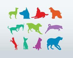 Silhouettes de chiens colorés