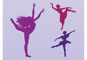 Dancing Girls siluetas Vector