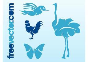 Pássaros e borboleta