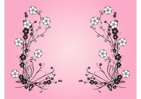 Elementos de flores blancos y negros