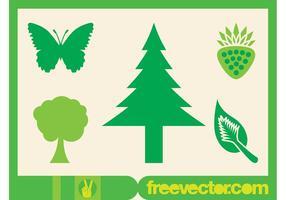 Ícones da natureza verde