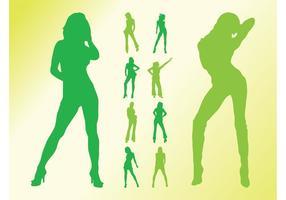 Pack de silhouettes de filles vectorisées