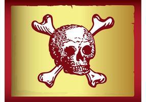 Cráneo y bandera pirata del vector