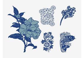 Flores japonesas del vector