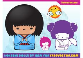 Kokeshi Vector Illustrations