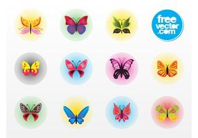 Badges vectoriels papillons