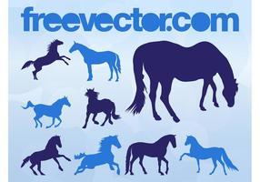Vetores de silhuetas de cavalo