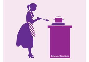Kochen Frau Vektor