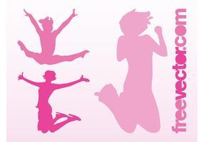 Happy Jumping Girls