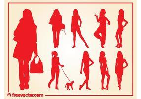 Vecteurs de silhouettes de filles