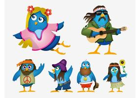 Hippie cartoon vogels