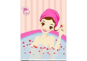 Söt tjejbadning