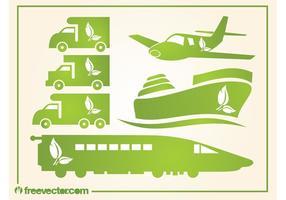Ícones de transporte verde