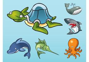 Animales de mar de dibujos animados Vector