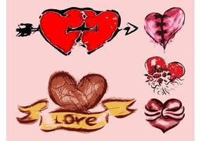 Grunge-hearts-vector