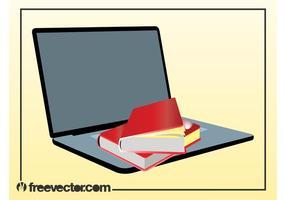 Böcker och bärbar dator vektor