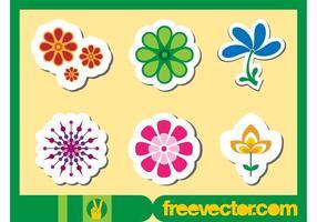 Blommor Klistermärken vektorer