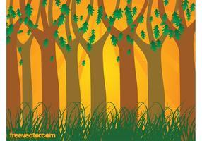 Vetor floresta do pôr do sol