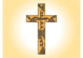 Vetor de cruz de madeira
