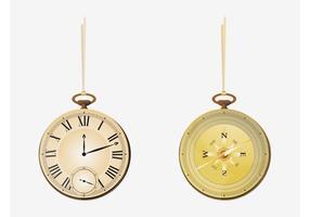 Relógio de bolso e bússola