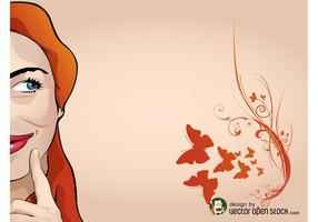 Butterfly Girl Vector