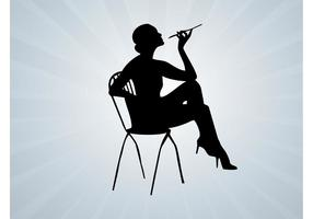 Fumar Mujer Vector