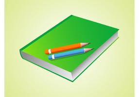 Vector Book And Pencils