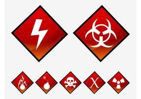 Vetores de símbolos de perigo
