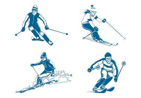Vector de esquiadores
