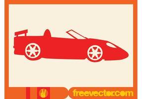 Icono de la silueta convertible rojo