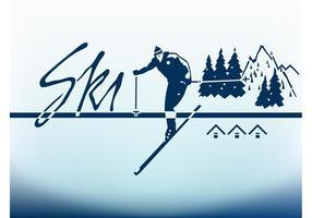 Skidåkare och berg
