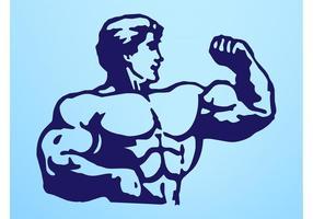 Man med stora muskler