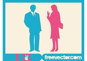 Talking Businesspeople Silhouettes