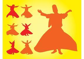 Silhuetas de dançarinos turcos