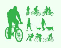 People With Dogs And Bikes