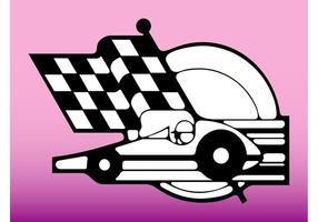 Car Race And Flag