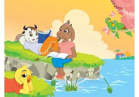 Cartoon-animals-reading-book